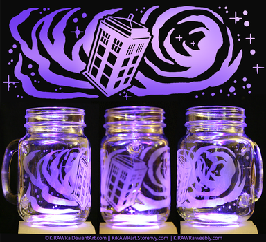 Etched Glass - Space Tardis by KiRAWRa