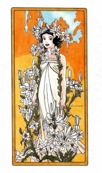 Snow White - Mucha's Flowers: Lily by Larocka84
