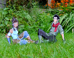 Korra and Mako paperchildren by tavington