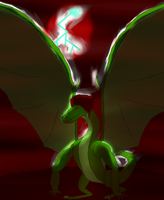Green Dragon in Red Fog by dragonrt