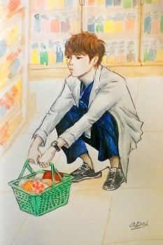 Minho Squatting in a Grocery Store by saesangpan