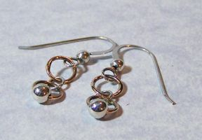 Silver Bead and Bronze Rings Earrings by SoundwarpSG-1