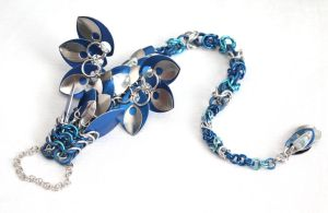 Blue and Silver Dragon Slave Bracelet by SerenFey