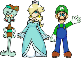 Squidward, Rosalina, and Luigi by webkinzspongebob