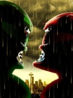 Green Ranger VS Red Ranger in the Emerald City by MostlyMichael