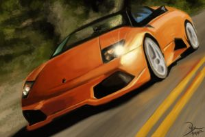 Speeding Lamborghini by Splash-Azure