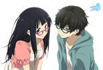 Eru and Oreki 'Glasses' Render by AzusaCaky