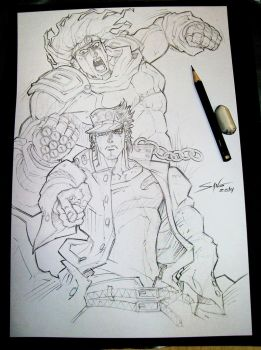 Jotaro and Star Platinum! Sketch by Sano-BR