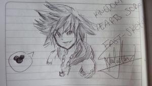 kingdom hearts - sora fast-pen-sketch by superjuan2222226666