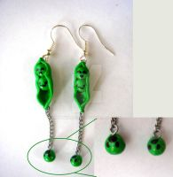 Pea-pods and Falling Peas Earrings (Design 2) by KittyAzura