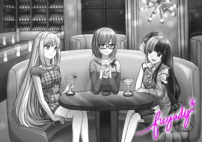 Girls Hangout (final phase - B/W toned) by freyady