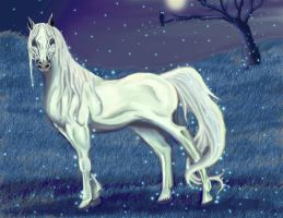 White Horse, blue version by Morna
