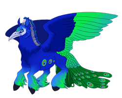 Peacock x Gypsy Vanner Horse Gryphon by Kingfisher-Gryphon