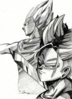 Trunks + Vegeta Sketch by The-Ebony-Phoenix