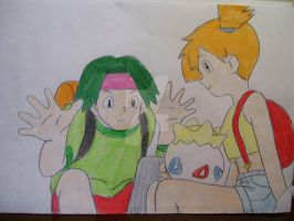 Tracey and Misty w/ Togepi by AJLeefan4life