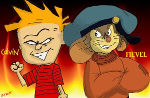 Calvin and Fievel by The-B-Meister