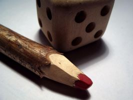 Wood dice and pencil by Kr4mon