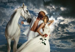 Prince on a white horse and his princess by Taitiii