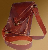 Hand-sewn leather shoulder bag v.1 by Innerwolf88