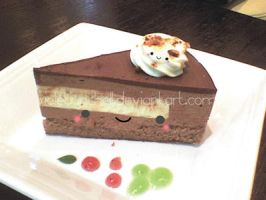 Kawaii chocolate mousse cake by VioletLunchell