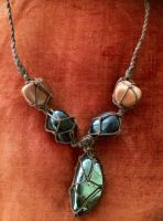 Hematite and sunstone necklace by twiggy242