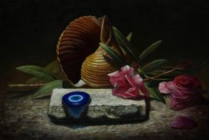 Seashell and oleander by marcheba