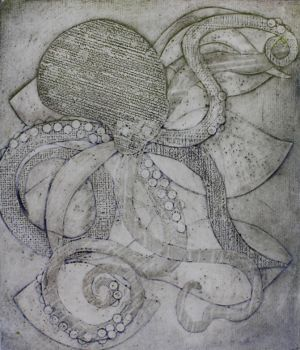 Deep Sea Collagraph Print by fluffys-inu