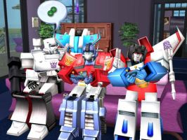 Optimus and Starscream playing by dionski