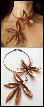 Pearl Flower-necklace by OlgaC