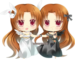 Chibi - Avino and Ava by Rinselli