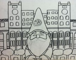 FSU GNOME IN FRONT OF THE DOAK OUTLINE by sampson1721