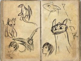 Toothless and Hiccup sketches by SireneTzukiDark