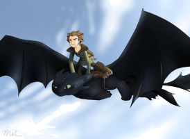 Hiccup and Toothless by Kiyouya