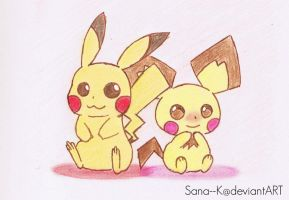Pikachu and Pichu by Sana--K