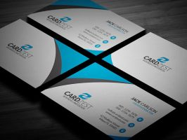 Free Sleek Blue Business Card Template by mengloong