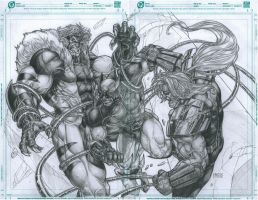 Sabertooth vs Wolverine vs Omega Red by grandizer05