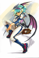 Morrigan with baseball stuff by o0-MU-0o