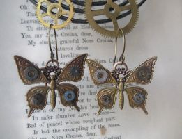 Steampunk Butterfly Earrings by NobleStudiosLtd