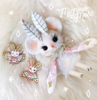 Mousemoth Doll and Pins by Lumichi