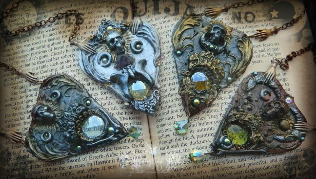 The Four Horsemen planchette necklaces... by EMasqueradeGallery