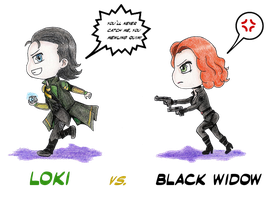 Chibi: Loki vs. Black widow redesign by Lola22