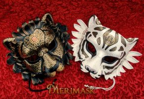 Steampunk Big Cat Masks by merimask