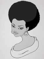 Free sketch - a girl with afro by deen4a