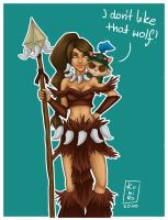 LoL : Nidalee and Teemo by kumiko5