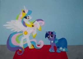 MLP princess celestia and Twilight sparkle felt by Blindfaith-boo