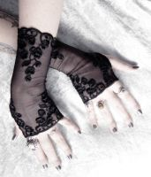 Adria Long Lace Fingerless Gloves by ZenAndCoffee