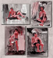 Figure Studies with Black and Red Ink by Fy-na