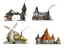 medival houses sketch by MySoulDive