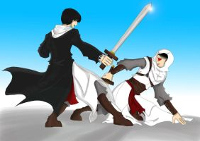 AC Malik and Altair Swordfight by TerraWindVampire