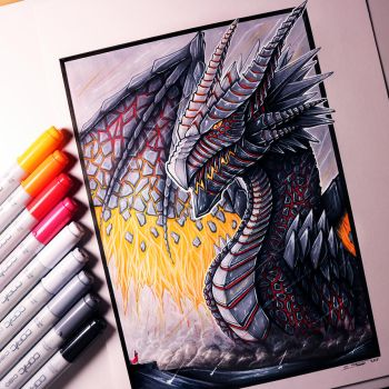 Lava Dragon Drawing by LethalChris